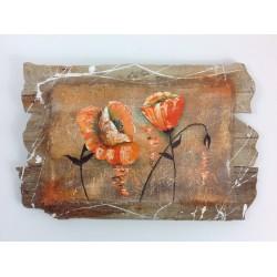 Tableau en bois flotté , Fleurs de Pavot  Orange