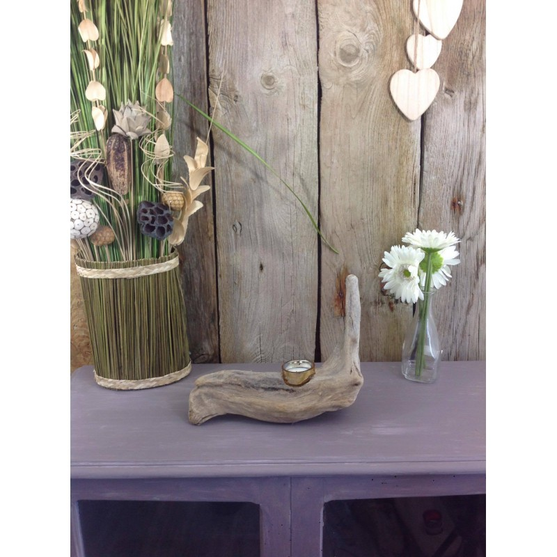 Porte bougie en bois flott for Porte photo bois flotte