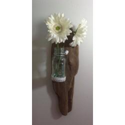 Applique murale en bois flotté vase en verre