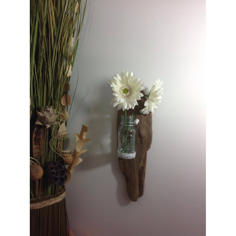 Applique murale en bois flott vase en verre https www for Applique murale en verre