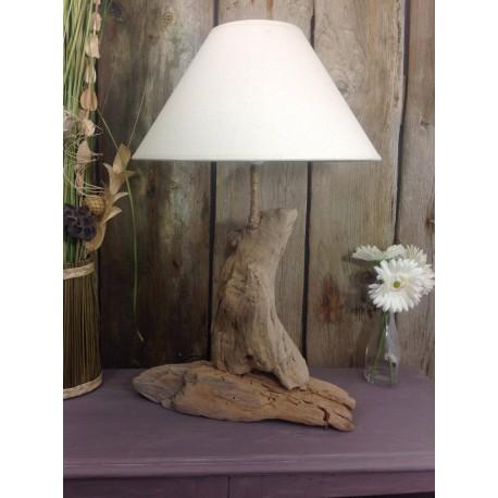 lampe a poser en bois flotté
