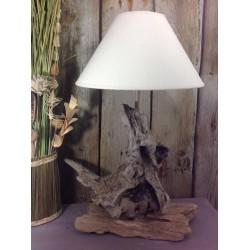 Belle lampe originale en bois flotté