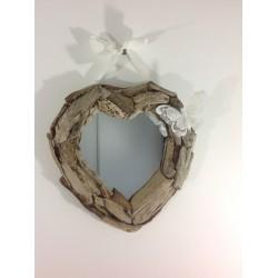 Miroir Coeur bois flotté ref 014