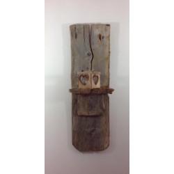 jolie étagére porte bougie en bois flotté