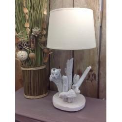 Lampe en bois flotté céruse blanche