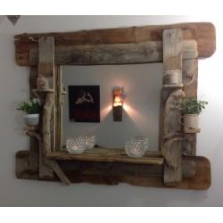 Miroir bois flotté   (vendu sans miroir cause transport)