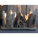 Lampe en bois flotté style photophore