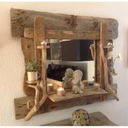Miroir en bois flotté sur commande
