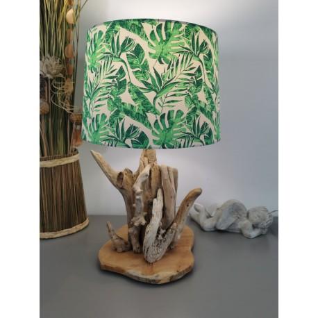 Lampe Bois Flotté abat-jour feuilles
