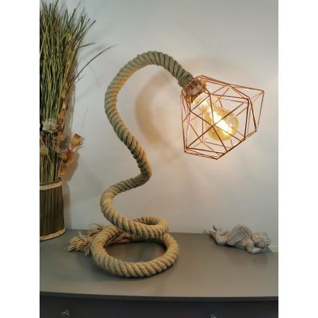 Grande Lampe corde abat jour métal cuivré