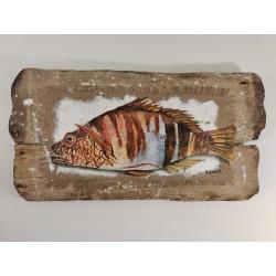 Poisson Serran écriture sur bois flotté et toile de jûte