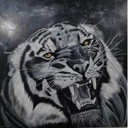 Tigre noir et blanc  80cm /80cm